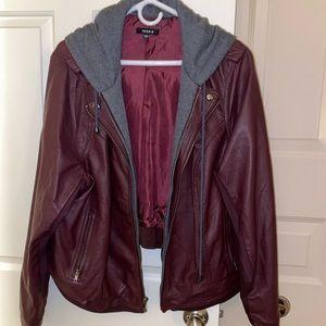 NWOT Maroon leather jacket with sweatshirt trim